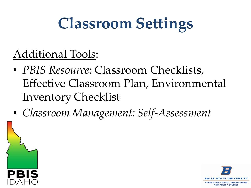 Classroom Settings Additional Tools: