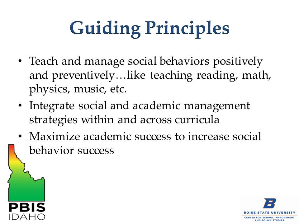 Guiding Principles Teach and manage social behaviors positively and preventively…like teaching reading, math, physics, music, etc.