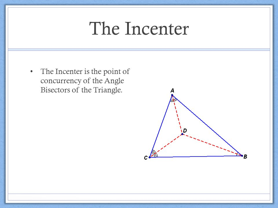 The Incenter The Incenter is the point of concurrency of the Angle Bisectors of the Triangle.