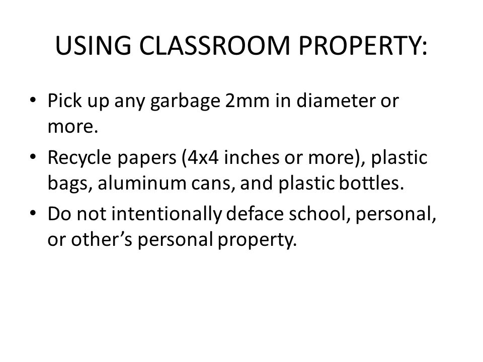 USING CLASSROOM PROPERTY: