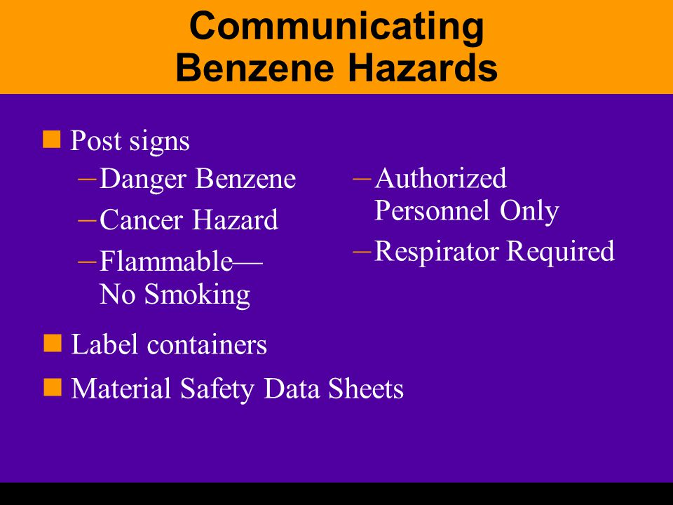 Communicating Benzene Hazards