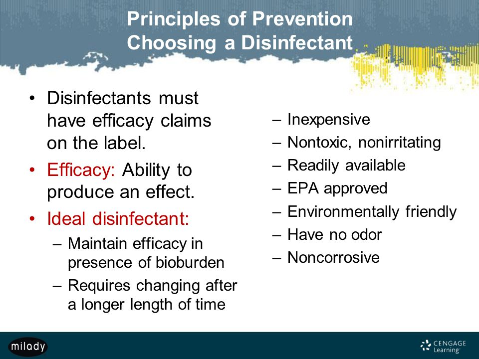 Principles of Prevention Choosing a Disinfectant