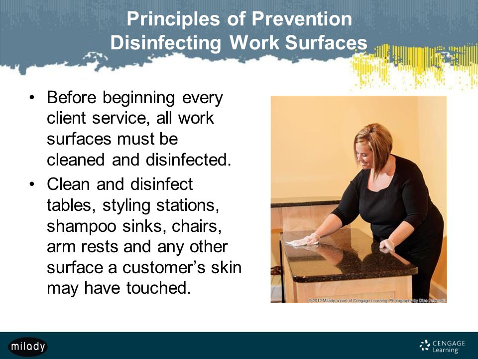 Principles of Prevention Disinfecting Work Surfaces