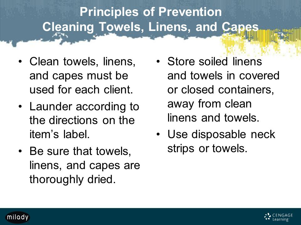 Principles of Prevention Cleaning Towels, Linens, and Capes