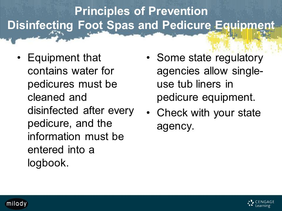 Principles of Prevention Disinfecting Foot Spas and Pedicure Equipment
