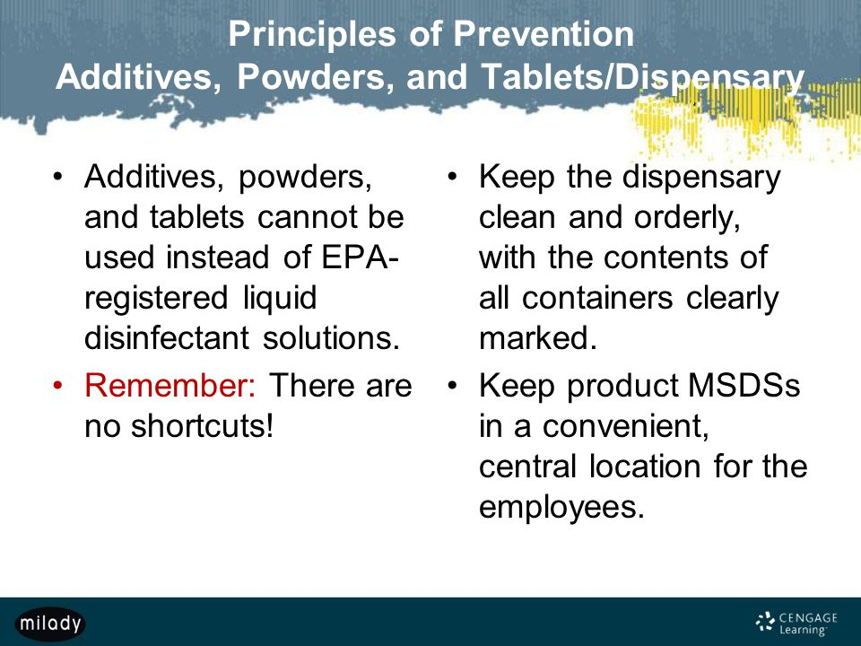 Principles of Prevention Additives, Powders, and Tablets/Dispensary