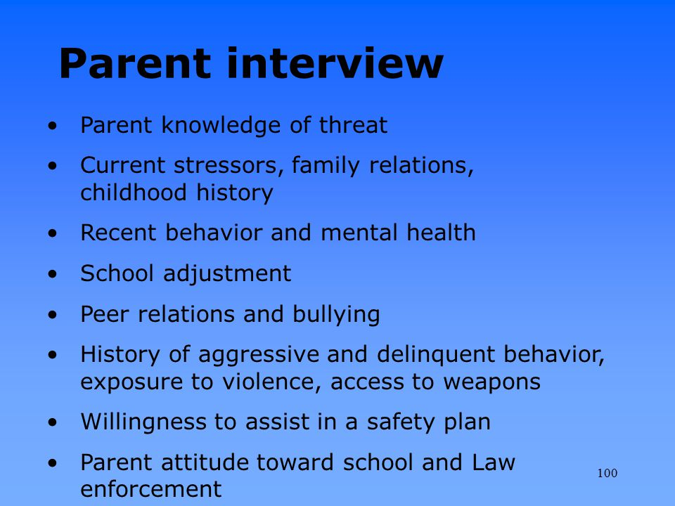 Parent interview Parent knowledge of threat