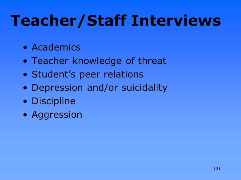 Teacher/Staff Interviews