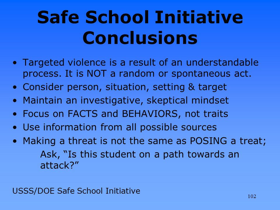Safe School Initiative Conclusions