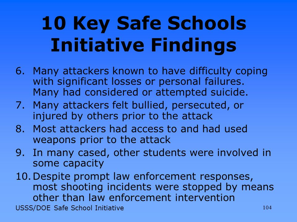 10 Key Safe Schools Initiative Findings