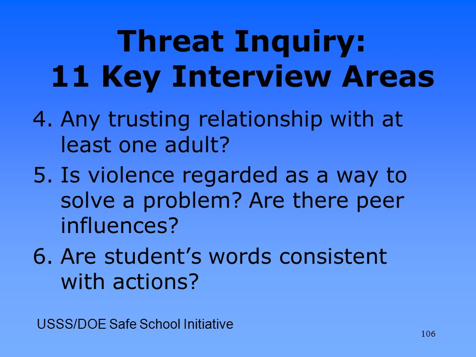 Threat Inquiry: 11 Key Interview Areas