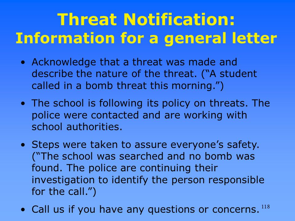 Threat Notification: Information for a general letter