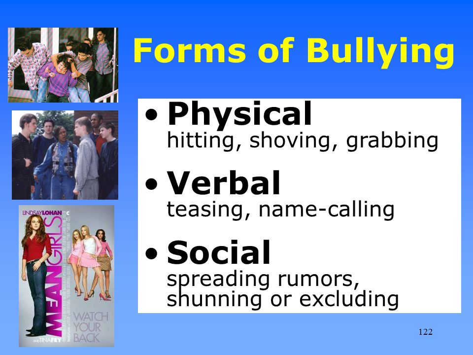 Forms of Bullying Physical hitting, shoving, grabbing