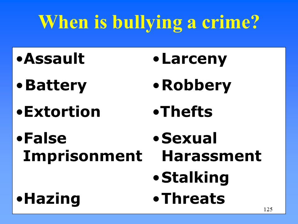 When is bullying a crime