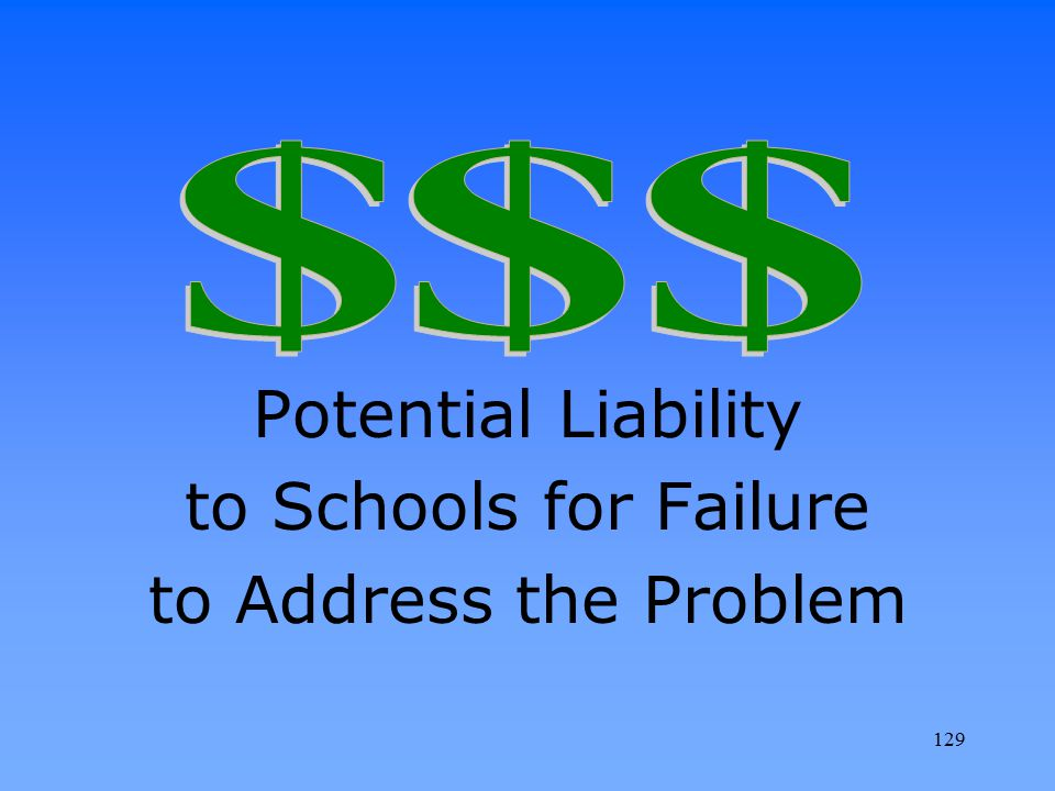 Potential Liability to Schools for Failure to Address the Problem $ $