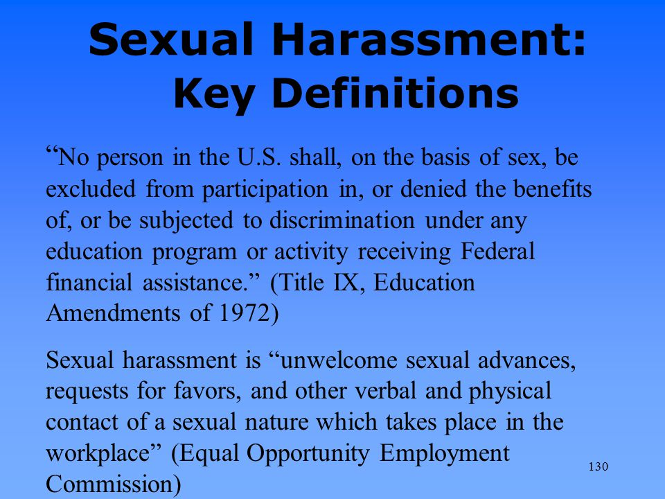 Sexual Harassment: Key Definitions