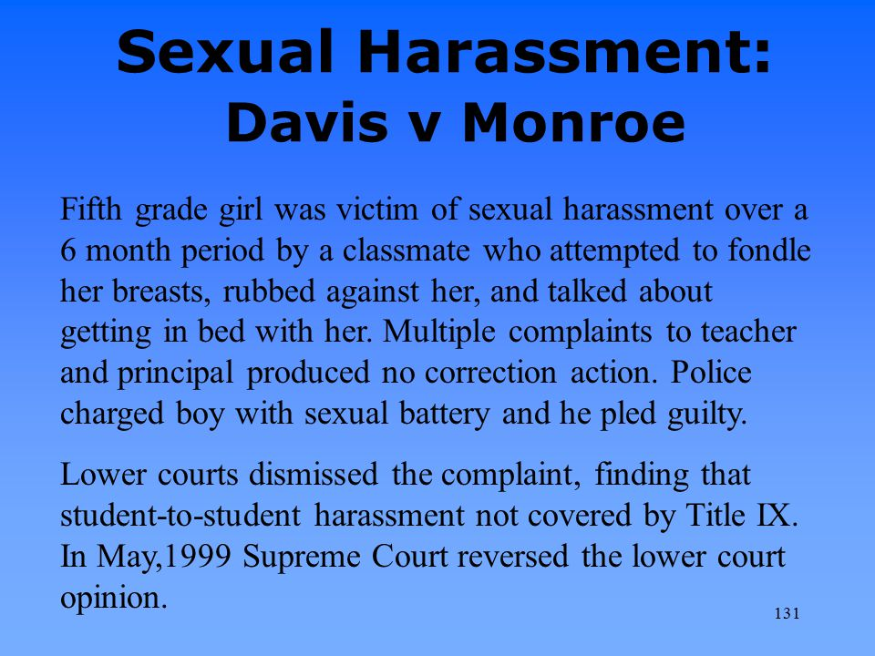 Sexual Harassment: Davis v Monroe