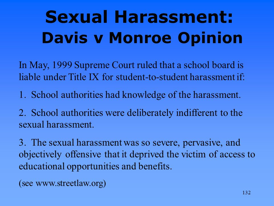 Sexual Harassment: Davis v Monroe Opinion