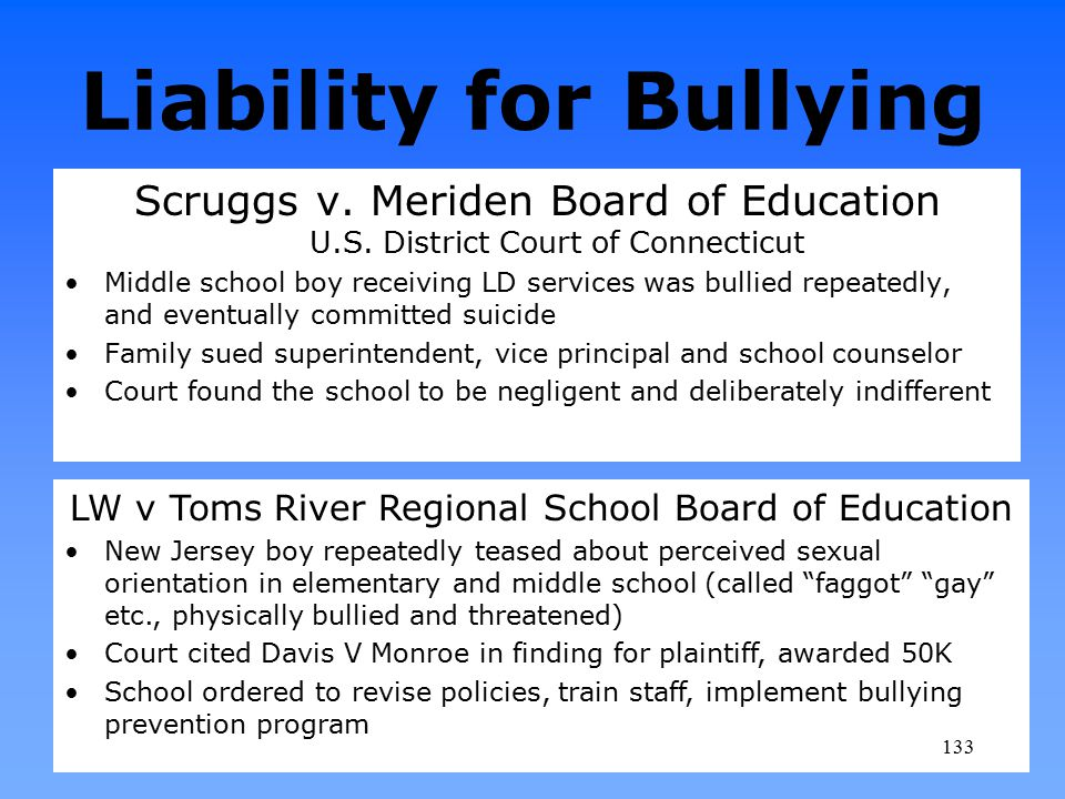 Liability for Bullying