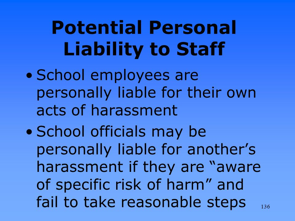 Potential Personal Liability to Staff