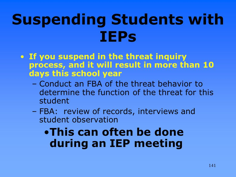 Suspending Students with IEPs