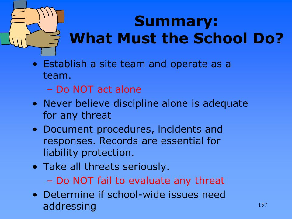Summary: What Must the School Do