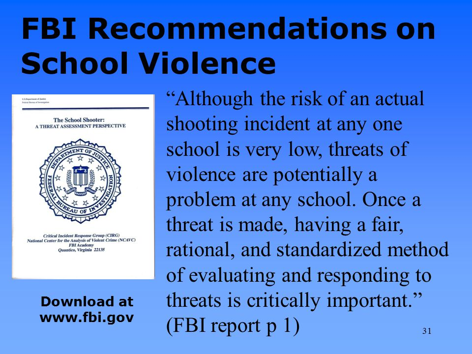 FBI Recommendations on School Violence