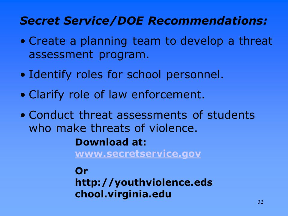 Secret Service/DOE Recommendations: