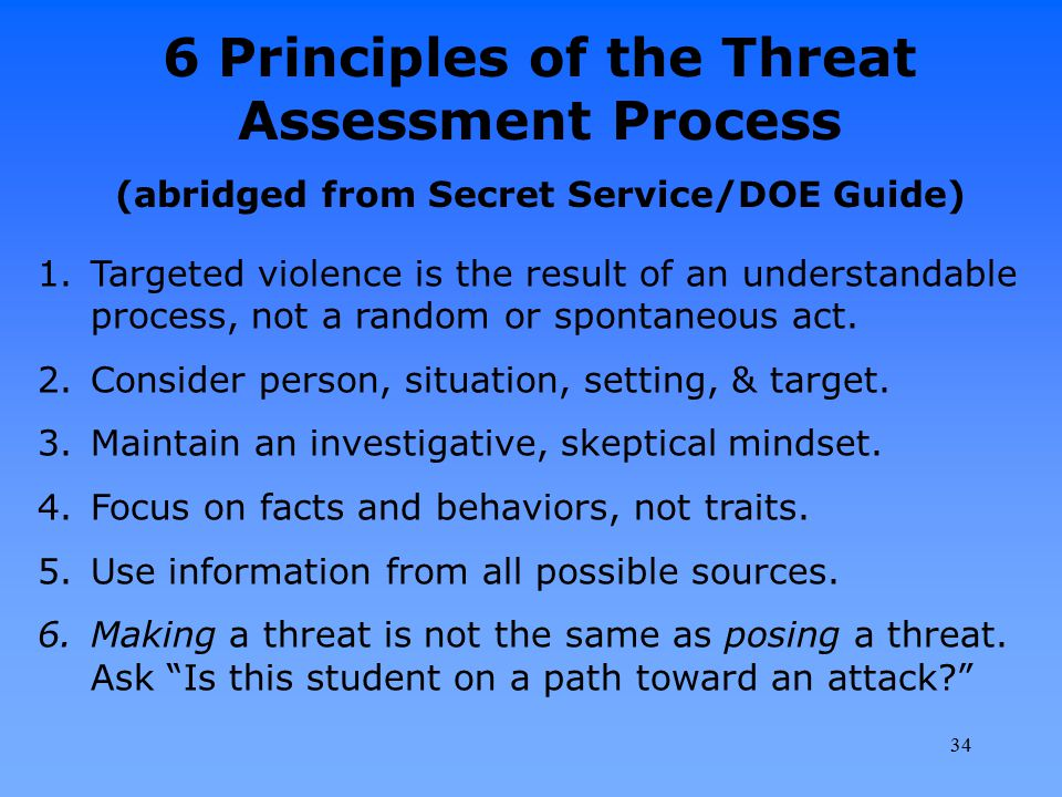 6 Principles of the Threat Assessment Process