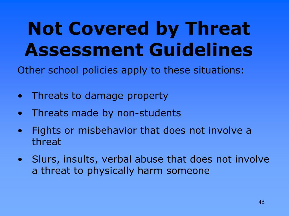 Not Covered by Threat Assessment Guidelines