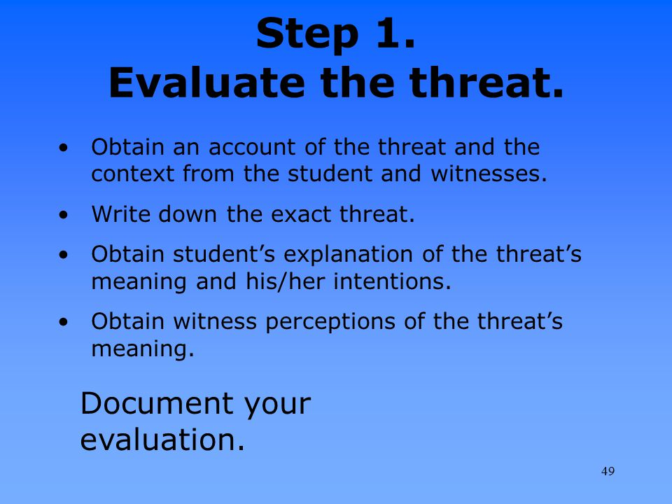 Step 1. Evaluate the threat.