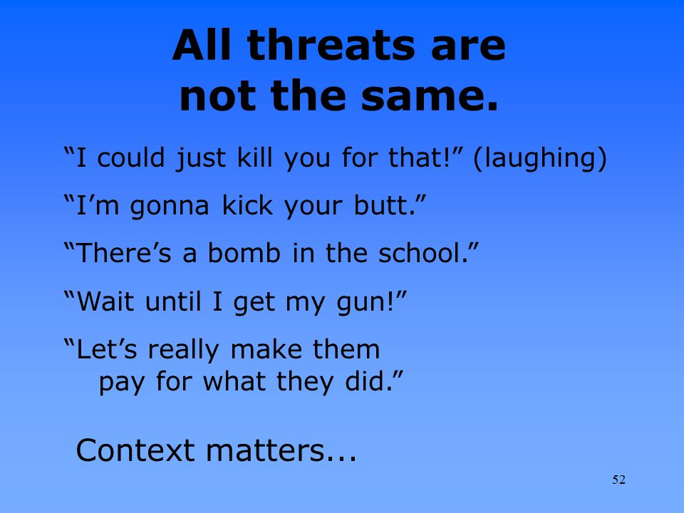 All threats are not the same.