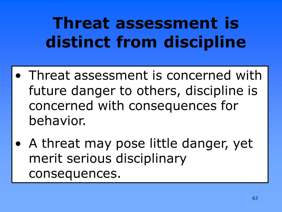Threat assessment is distinct from discipline