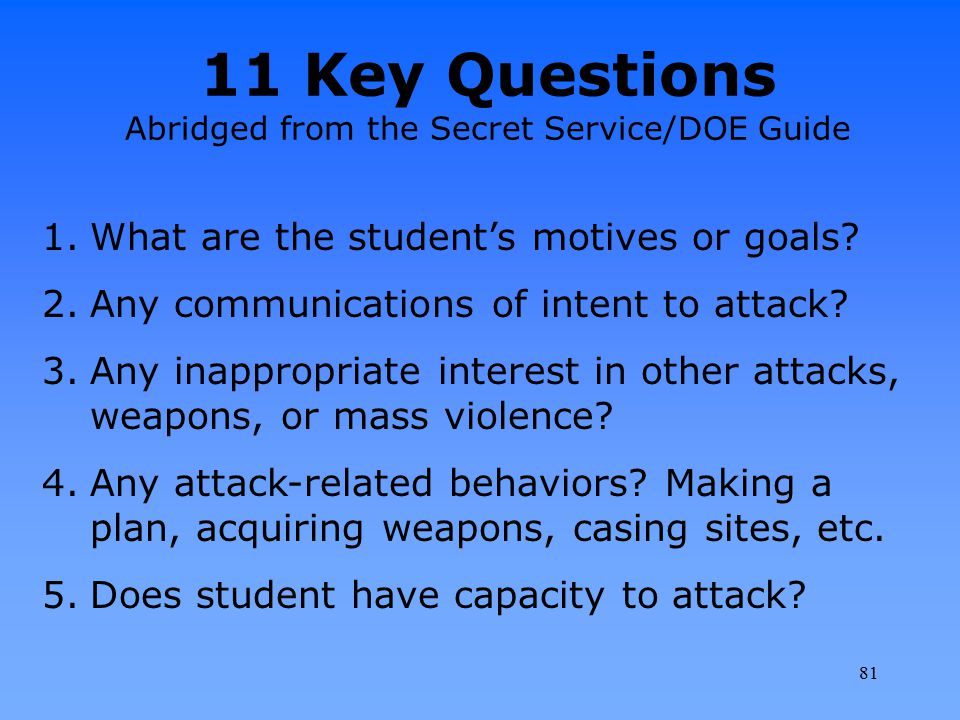 11 Key Questions Abridged from the Secret Service/DOE Guide