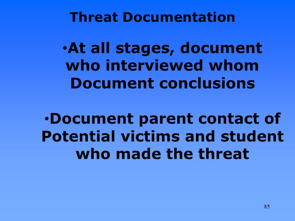Document parent contact of Potential victims and student