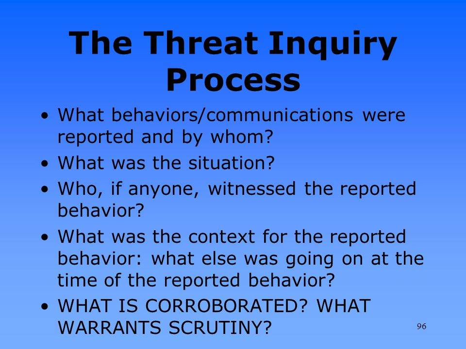 The Threat Inquiry Process