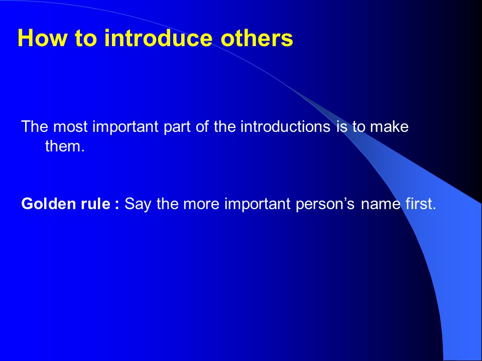 How to introduce others
