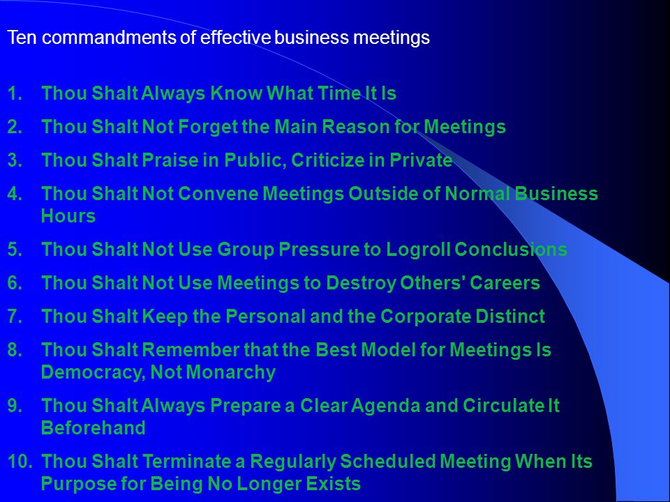 Ten commandments of effective business meetings