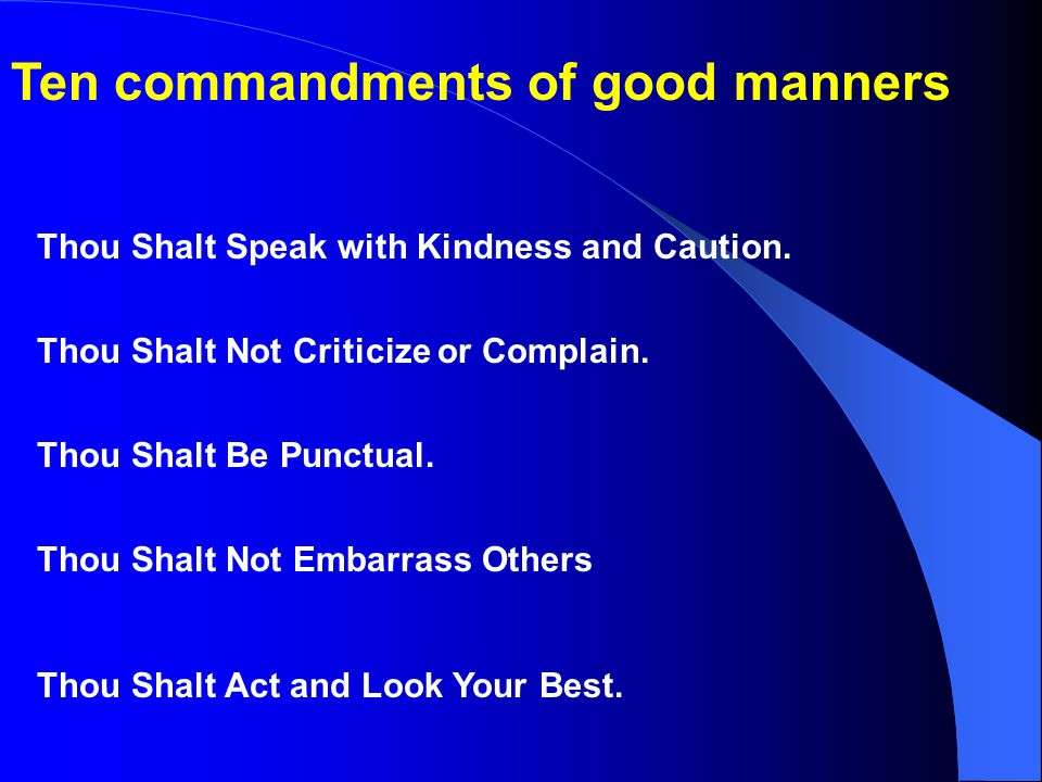 Ten commandments of good manners