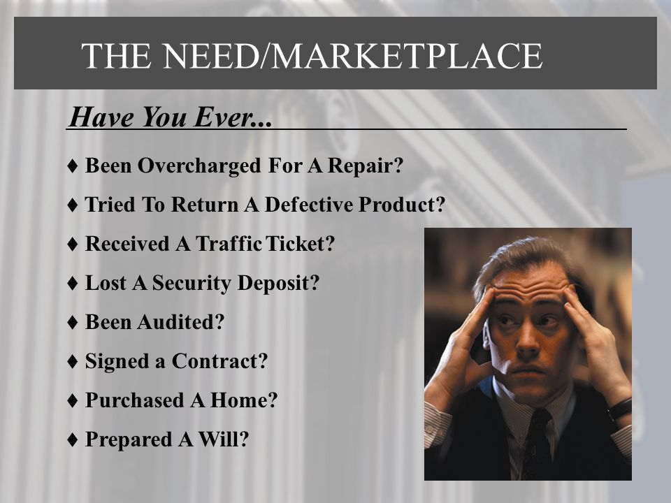 THE NEED/MARKETPLACE Have You Ever... Been Overcharged For A Repair