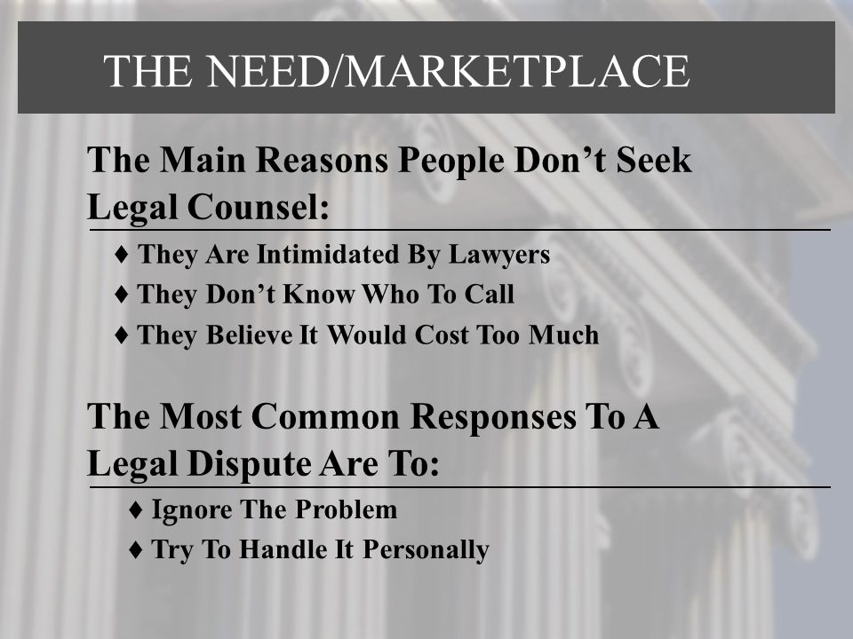 THE NEED/MARKETPLACE The Main Reasons People Don't Seek Legal Counsel: