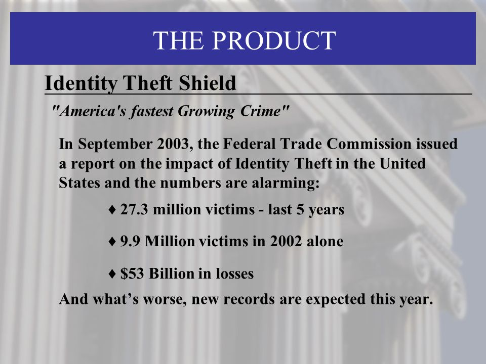 THE PRODUCT Identity Theft Shield America s fastest Growing Crime