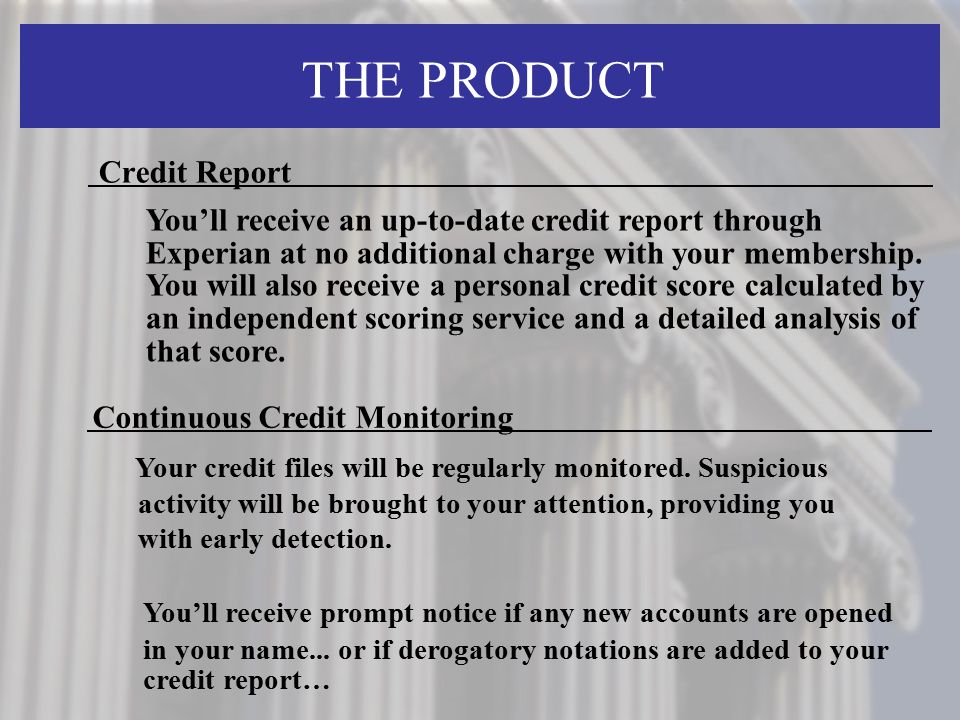 THE PRODUCT Credit Report