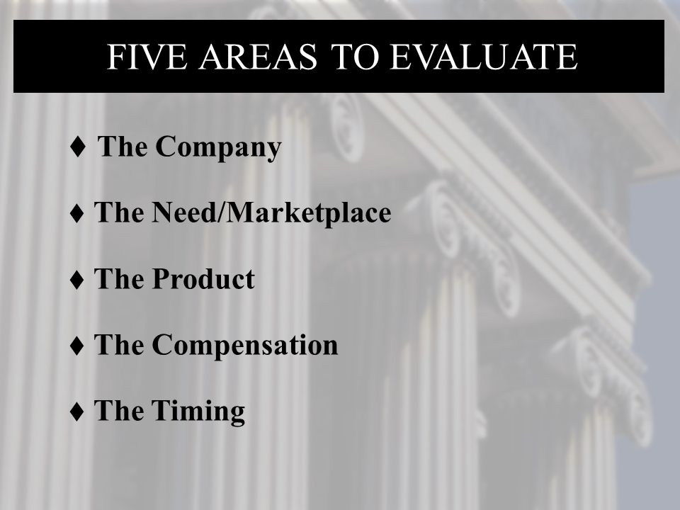 FIVE AREAS TO EVALUATE The Company The Need/Marketplace The Product