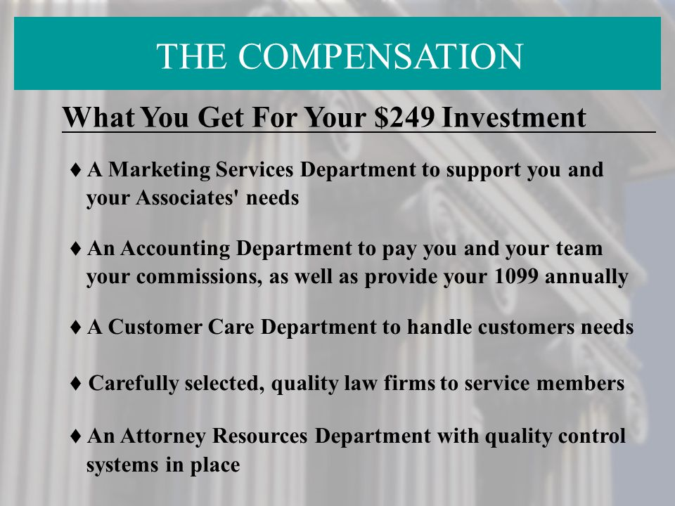 THE COMPENSATION What You Get For Your $249 Investment