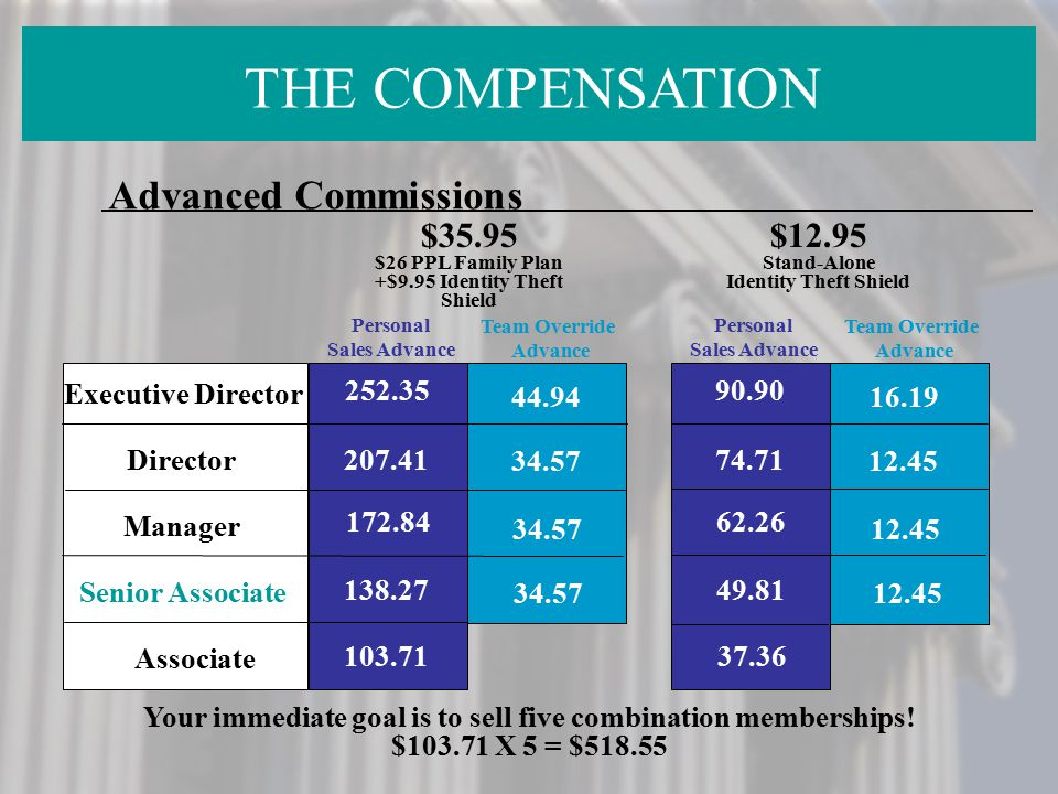 THE COMPENSATION Advanced Commissions $35.95 $12.95 Executive Director