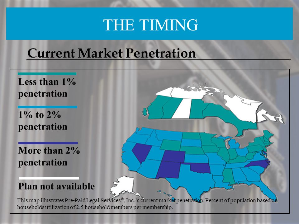 THE TIMING Current Market Penetration Less than 1% penetration