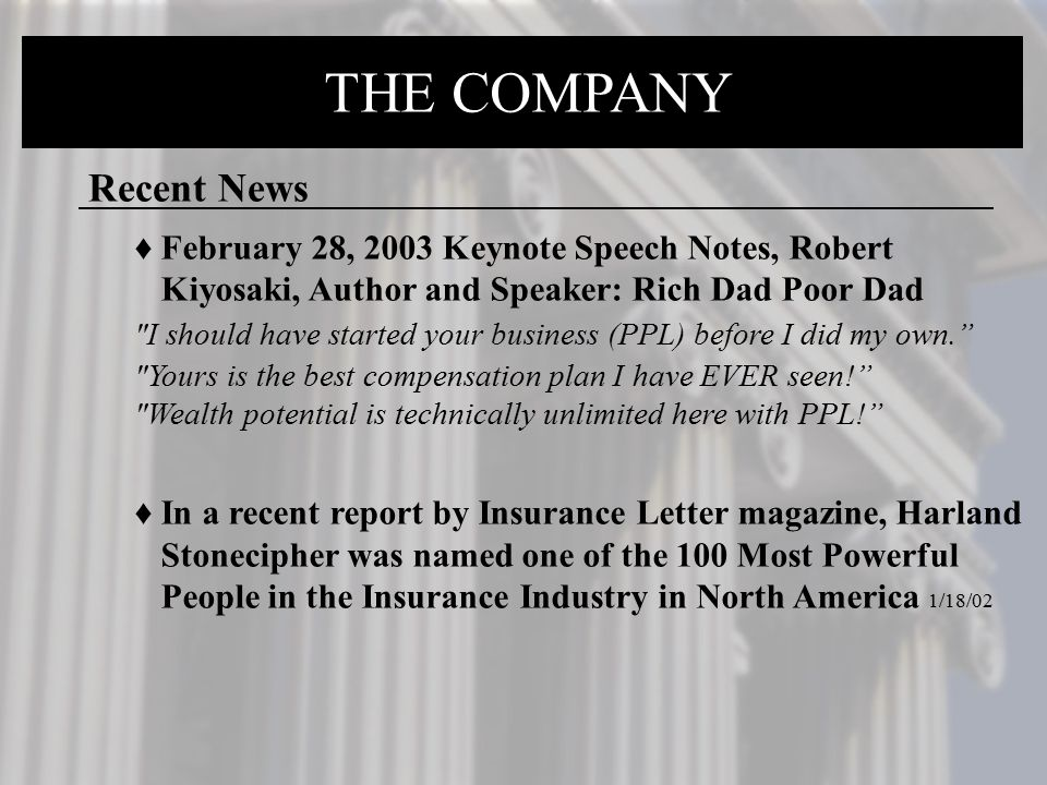 THE COMPANY THE COMPANY Recent News