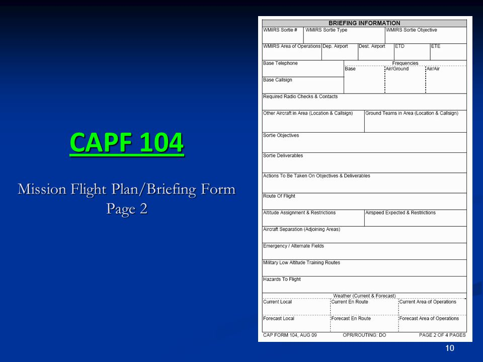 CAPF 104 Mission Flight Plan/Briefing Form Page 2