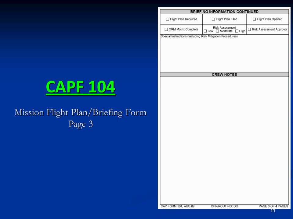 CAPF 104 Mission Flight Plan/Briefing Form Page 3